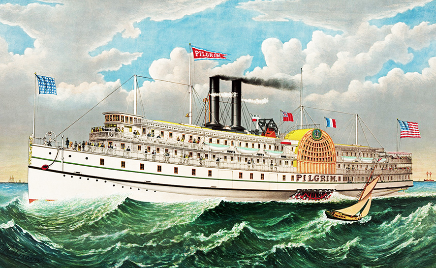 vintage steamboat drawing Pilgrim