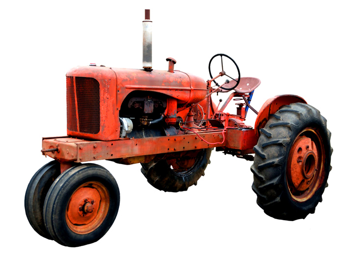 red vintage tractor