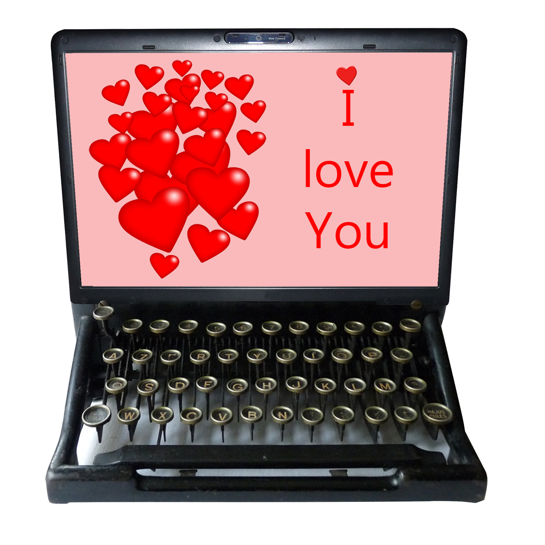 old typewriter and hearts I love you