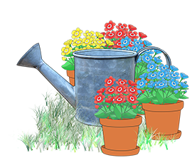 water can and flower pots clipart
