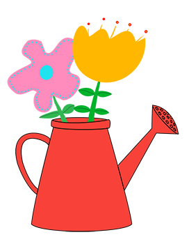water can red with different flowers