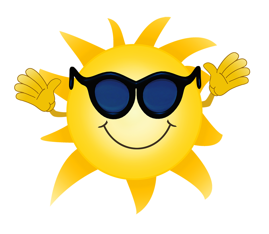 cartoon sun with sunglasses waving