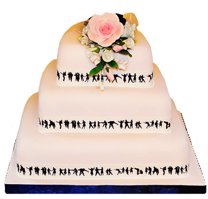 wedding cake with dancer silhouettes