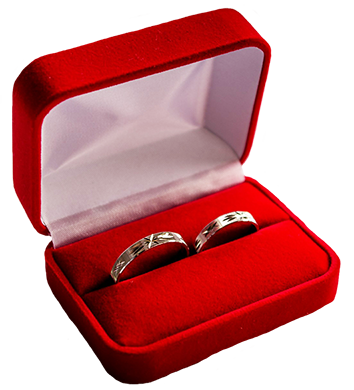 wedding rings in a red box