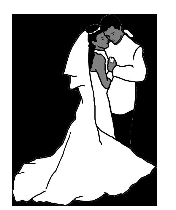 wedding dance silhouette gray/white/black