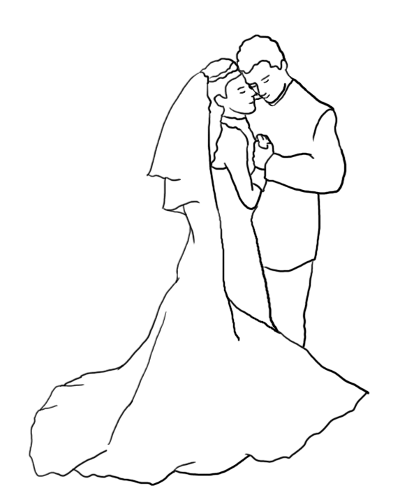 wedding dance silhouette outline