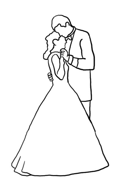 wedding dance silhouette outlined