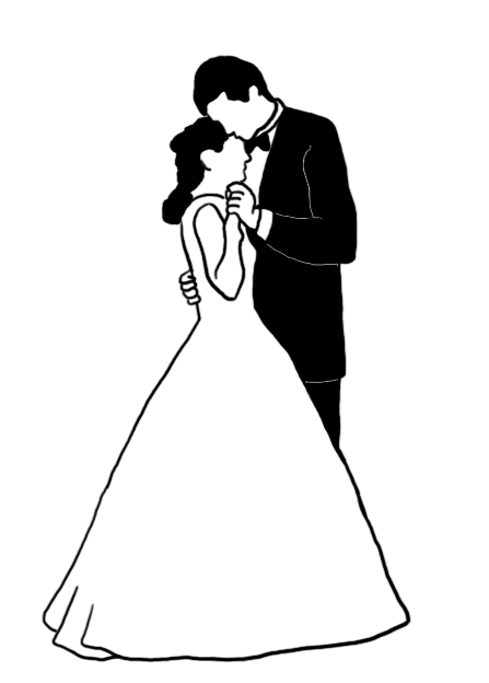 Wedding dance silhouette black white