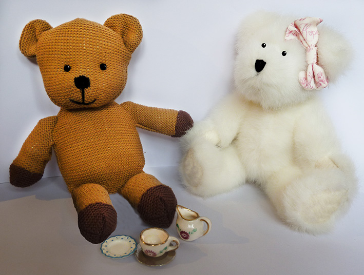 Tea party with two Teddy bears