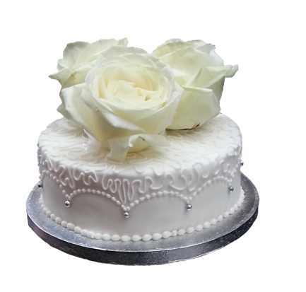 white cake whtie roses wedding clipart