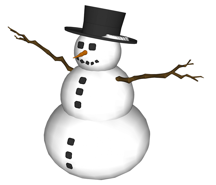 snowman picture with hat and branch arms