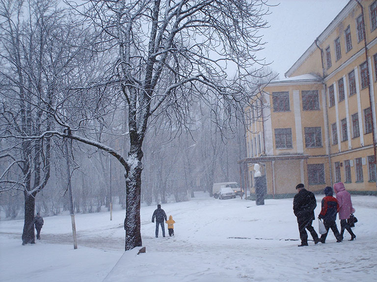 winter in town with people in snow