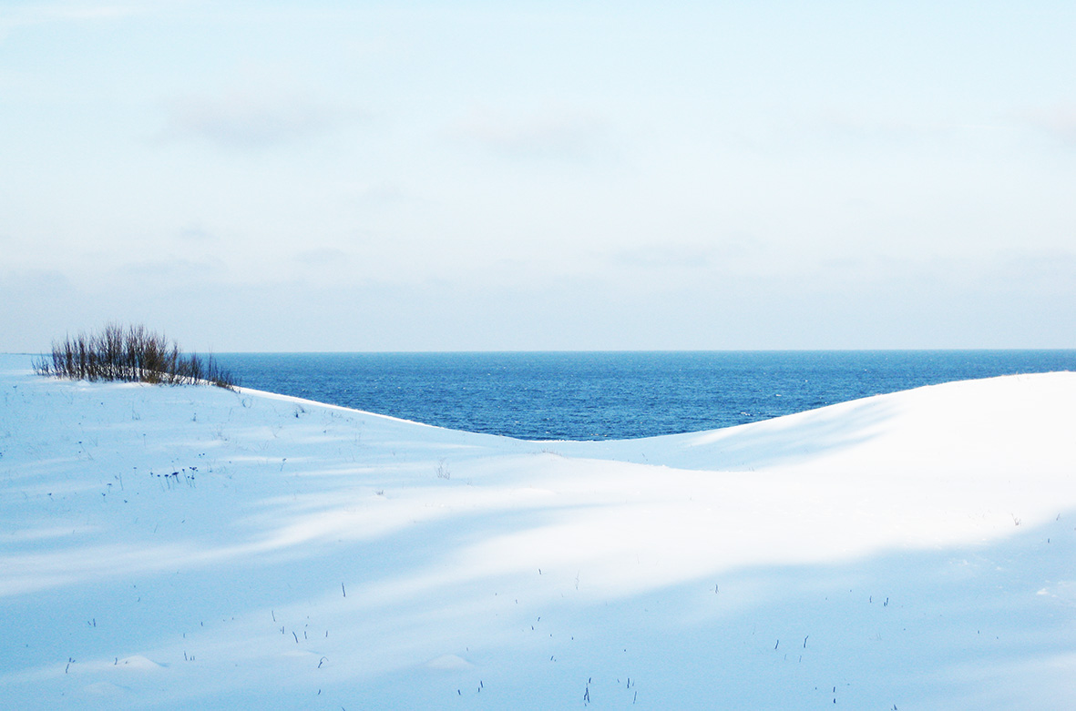 winter landscape and sea