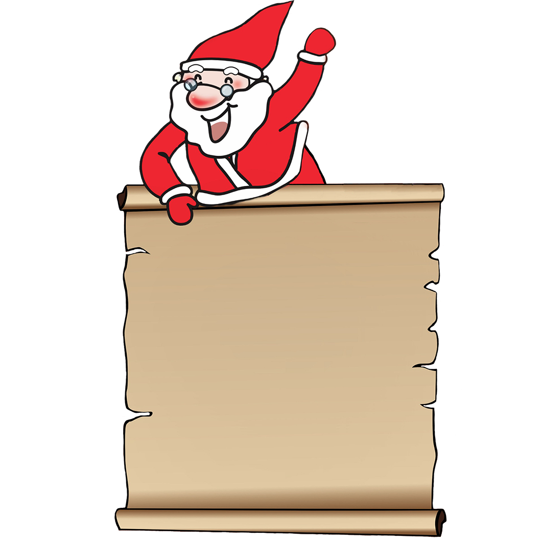 Santa and wish list clipart