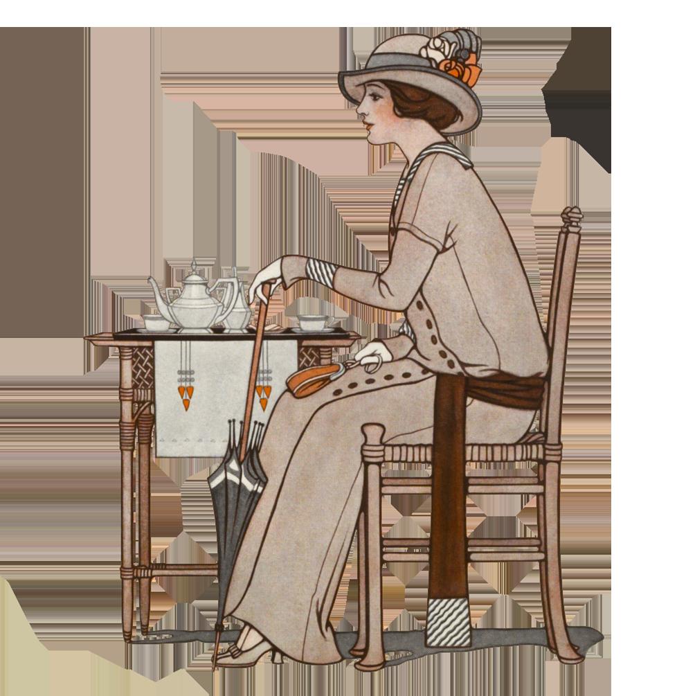 Woman drinking tea art deco period