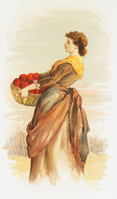 woman with apples in fall