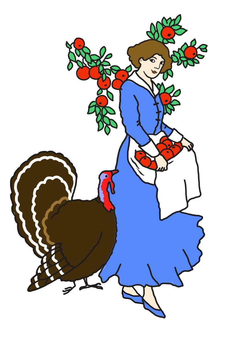 woman with apples and turkey
