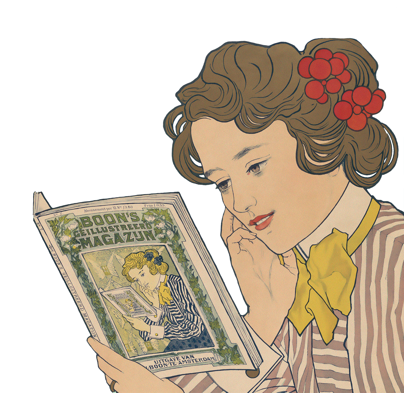 woman reading vintage drawing
