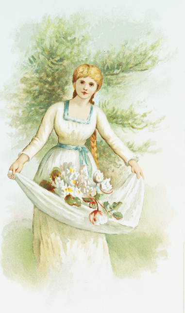 woman in spring with flowers