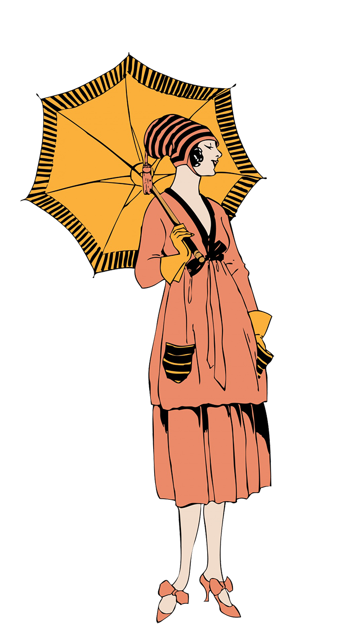 Vintage drawing woman with sun umbrella
