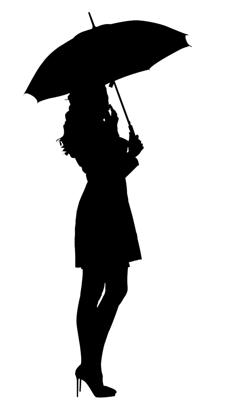 woman under umbrella silhouette