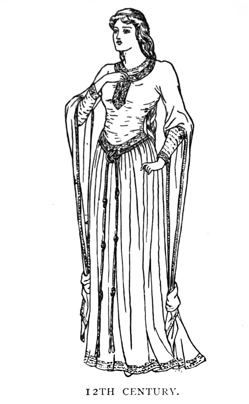 woman's dress 12th century Medieval ages