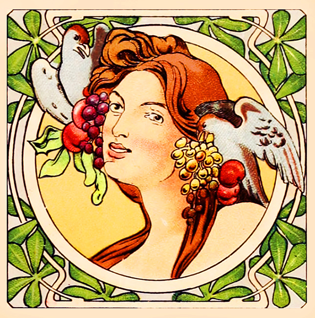 art nouveau drawing womans face ormanted