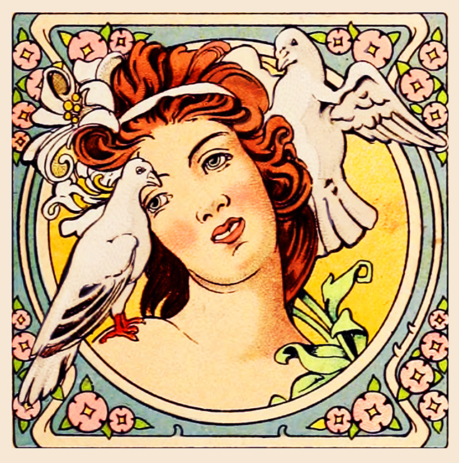 Womans face art nouveau