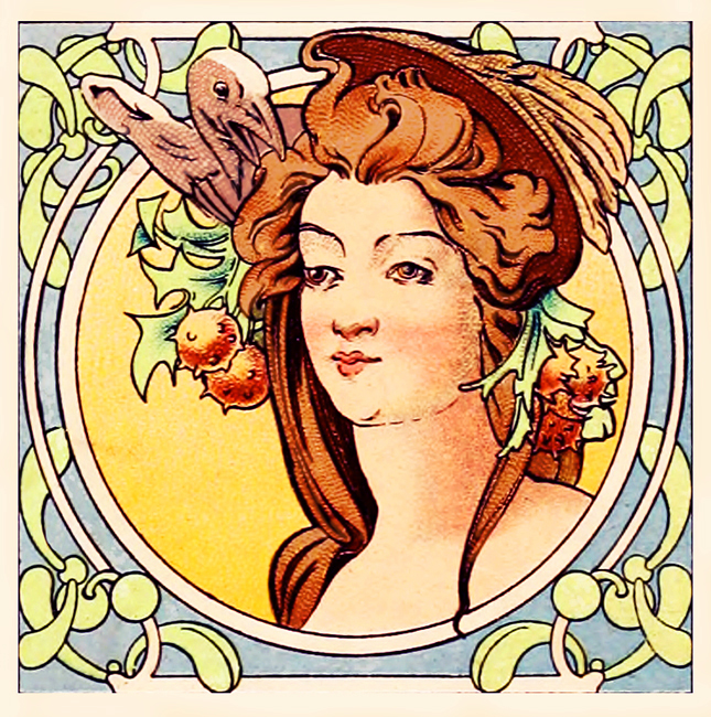 womans face ornamented art nouveau