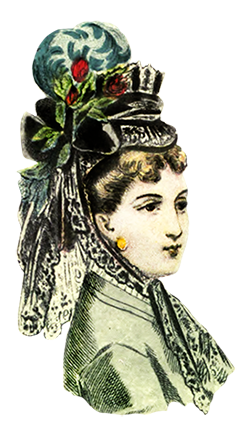 Victorian fashion woman's hat 1872