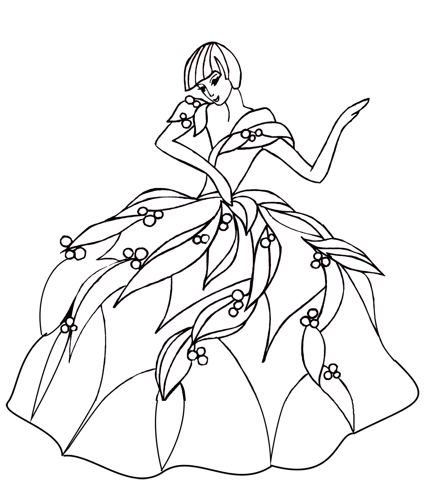 wonderful dance coloring page big dress