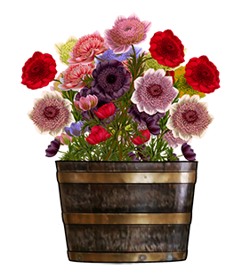 wooden tub with flowers