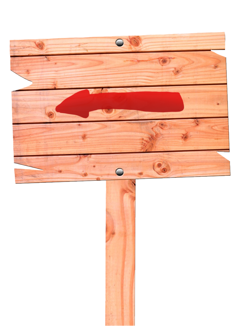 Wood sign red arrow