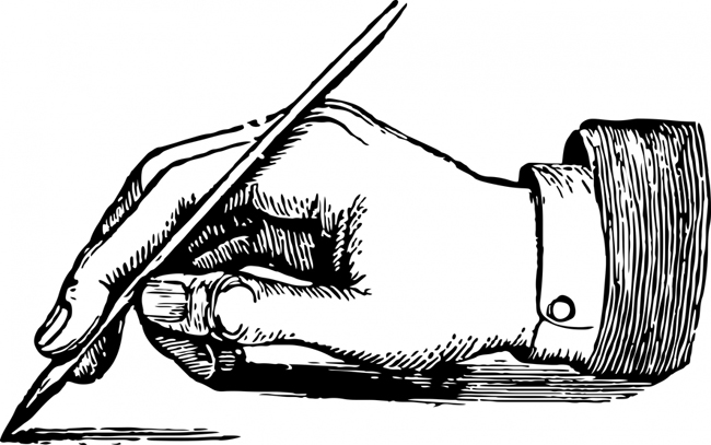 writing hand with pen