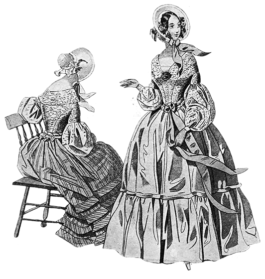 1841 two ladies with crinolines and ringlets