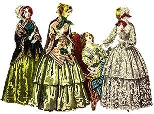 Victorian ladies dress hats clip art