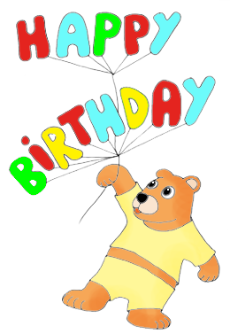 happy birthday clip art teddy bear with balloons