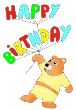 happy birthday clip art teddy bear with balloons