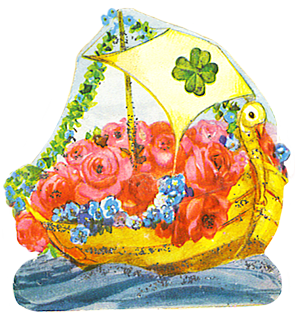 boat with shamrock and roses
