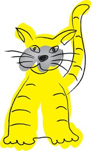 drawing of yellow cat