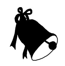 Christmas bell with bow silhouette