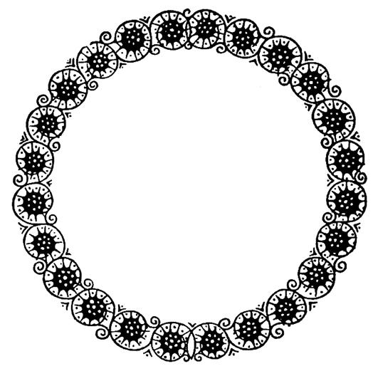 circle frame swirls flowers