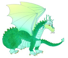 Cool dragon green drawing