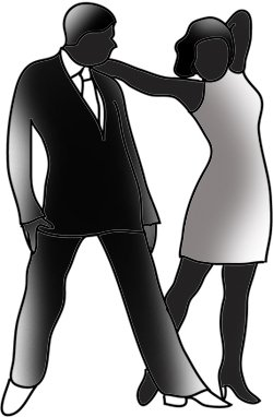 Ballroom dancing couple silhouette