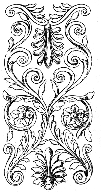 drawing with Victorian decor elements