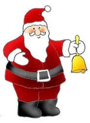 Santa with Christmas bell