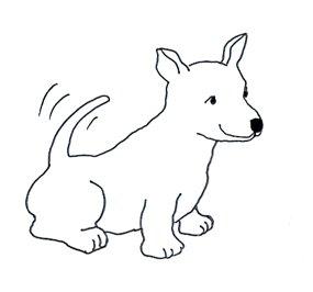 Small funny happy dog sketch