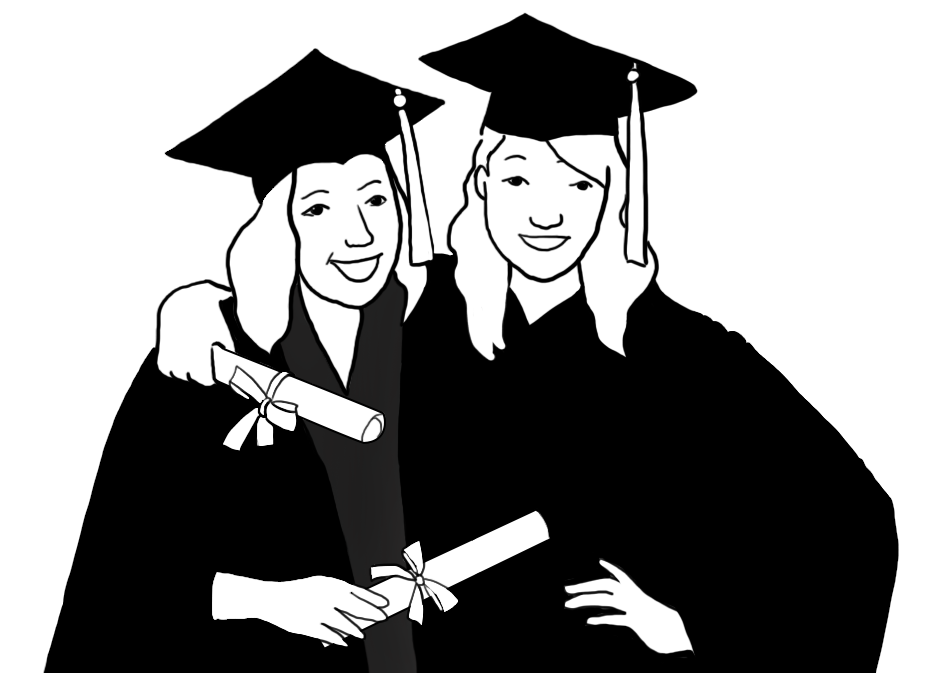 free graduation graphics friends black white