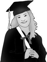graduation clipart girl diploma black white