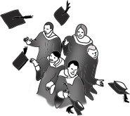 graduation clipart hats in air black white